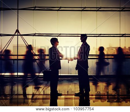 Businessmen People Handshake Corporate Greeting Communication Concept