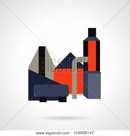 Industrial architecture flat color vector icon.