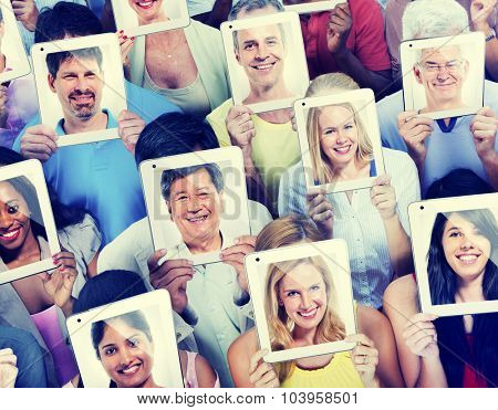 People Digital Tablet Social Media Networking Communication Concept
