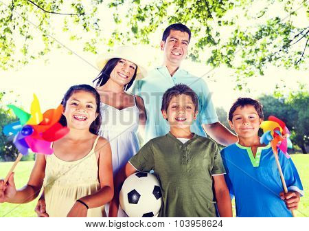 Family Playing Outdoors Children Park Concept
