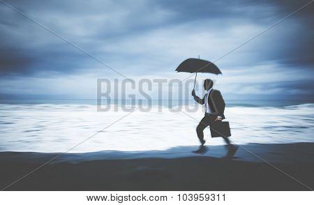 Worried Businessman Running Stress Pressured Lost Concept