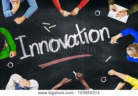 Group of Multiethnic People Discussing About Innovation