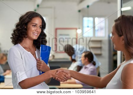 professional young businesswomen shaking hands in agreement of contract during boardroom meeting