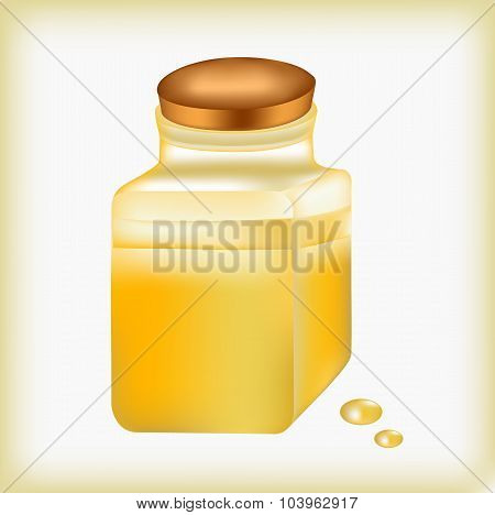 Jar with oil, a pharmaceutical bottle, radio ????? oil in glass