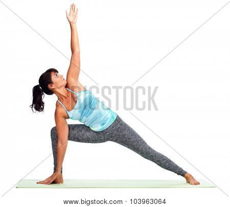 Young woman doing yoga isolated over white background.