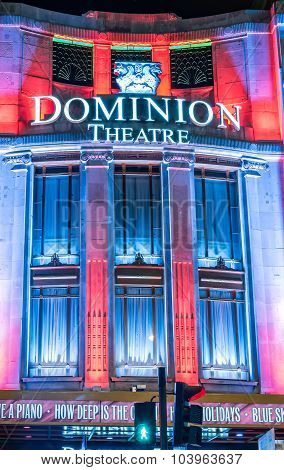 Christmas Lights At Dominion Theatre In London