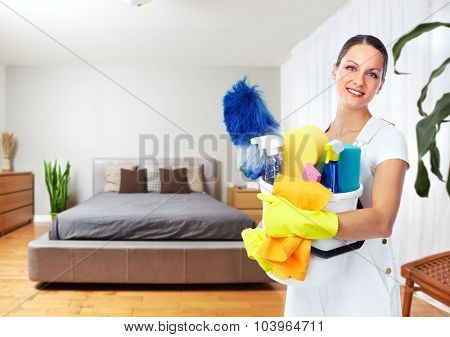 Maid woman with tools. House cleaning service concept.