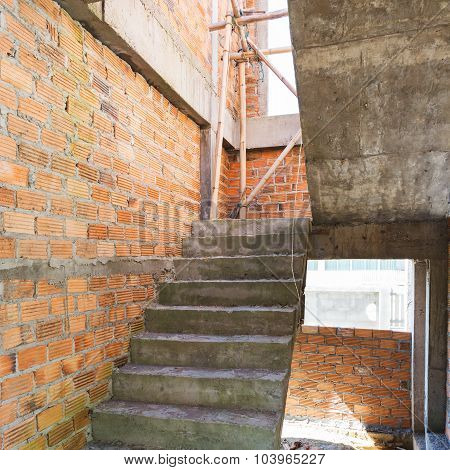 Construction House Of Residential With Bricks Wall And Cement Staircase
