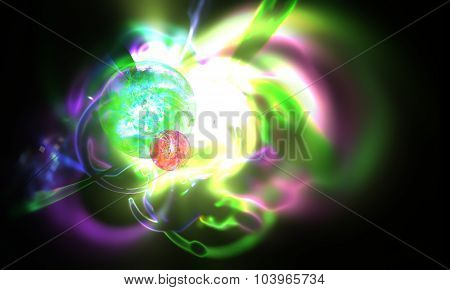 Abstract blurred scene depicting an astronomical nebula magnetic storm on unstable mystic supernova.