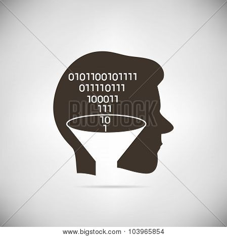 binary number in man head