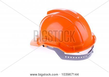Orange Safety Helmet Hard Hat, Tool Protect Worker Of Danger In Construction Industry, Isolated On W