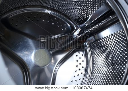 Closeup Image Of Washing Machine, Abstract Metallic Texture Background