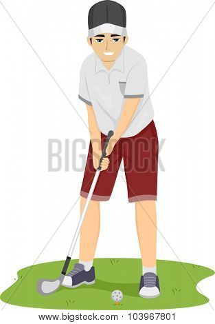 Illustration of a Teenage Guy Preparing to Hit the Golf Ball