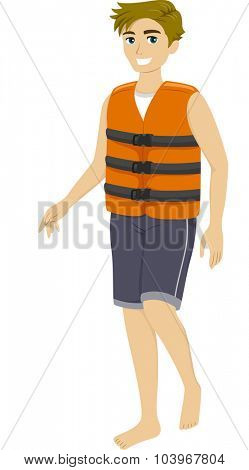 Illustration of a Teenage Guy Wearing a Life Vest