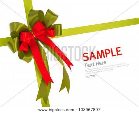 Shiny red and green ribbon on white background with copy space.