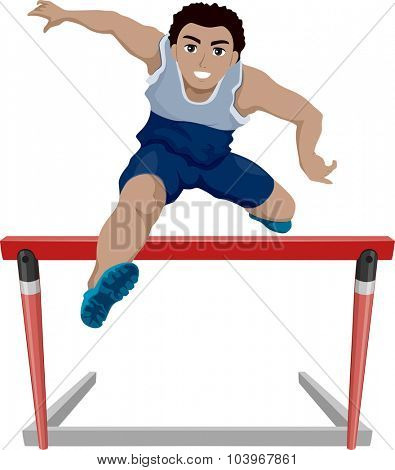 Illustration of a Teenage Athlete Jumping Over a Hurdle