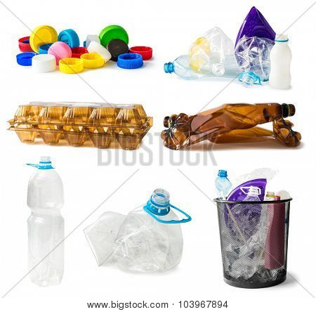collage of plastic waste isolated on white background