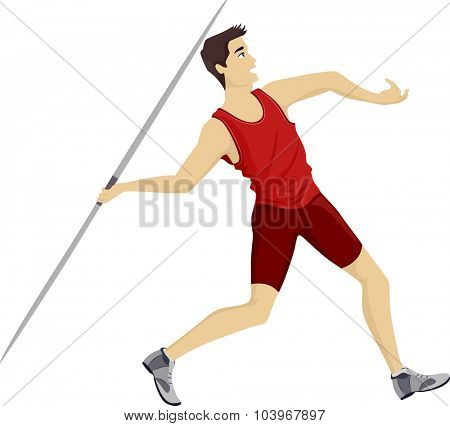 Illustration of a Teenage Javelin Player Throwing a Javelin