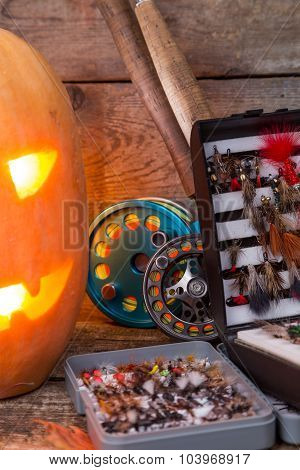 Halloween Pumpkin Head With Fly-fishing Tackles
