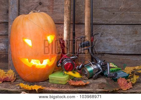 Halloween Pumpkin With Fishing Tackles