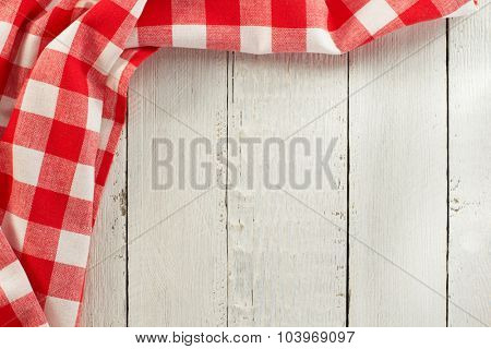 cloth napkin on wooden background