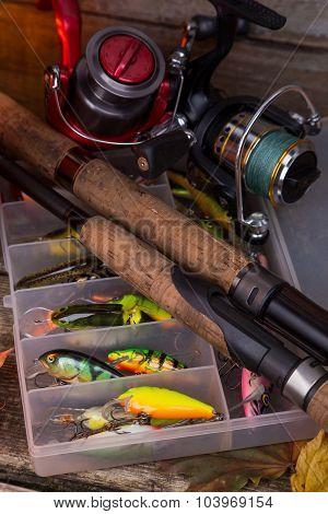 Fishing Tackles And Fishing Baits In Box
