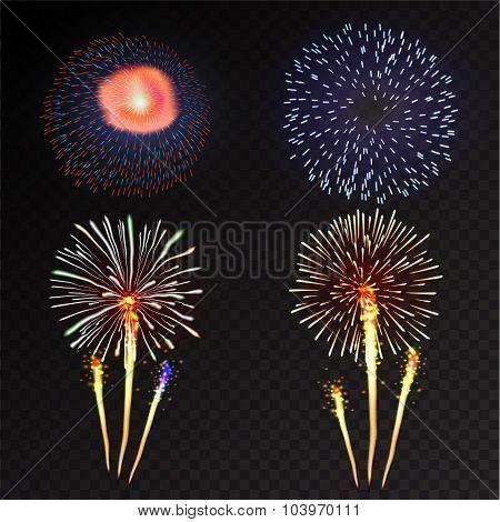 Fireworks festive  bursting sparkling vector