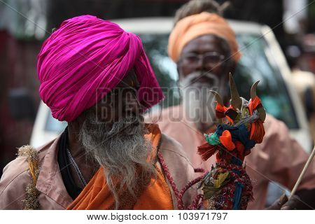 Pune, India - July 11, 2015: An Old Indian Pilgrim, A Devotee Of Lord Shiva During An Indian Pilgrim