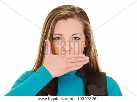 young woman shows sign asphyxiation