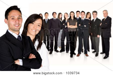 Business Partners Leading Huge Business Team