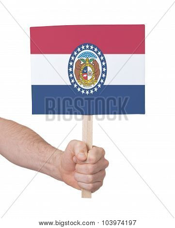 Hand Holding Small Card - Flag Of Missouri