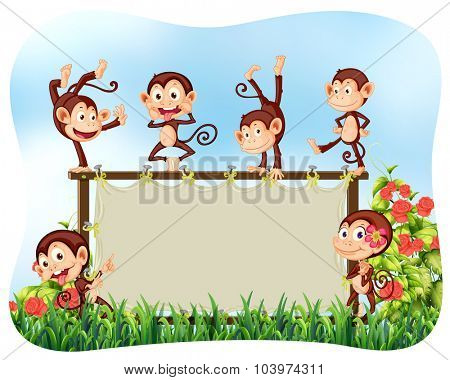 Wooden frame with monkeys illustration