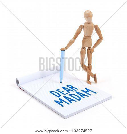 Wooden Mannequin Writing - Dear Madam