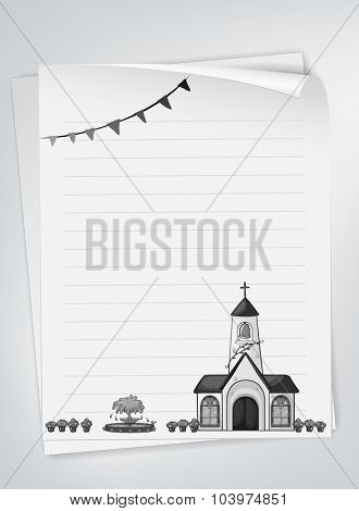 Blank paper with church design illustration