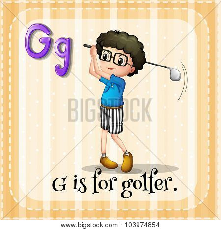 Alphabet G is for golfer illustration