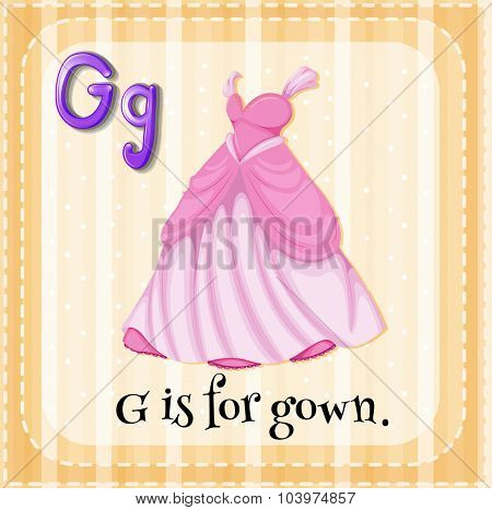 Alphabet G is for gown illustration