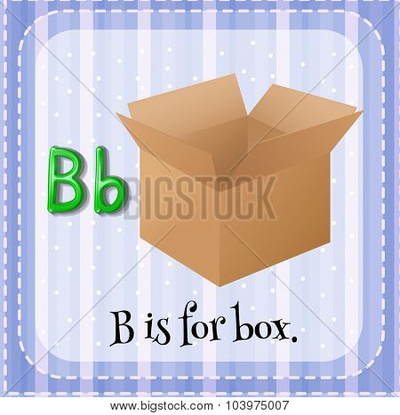Flashcard letter B is for box illustration