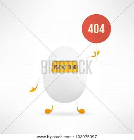 Vector 404 web page not found error with cute and funny egg creature holding the red sign