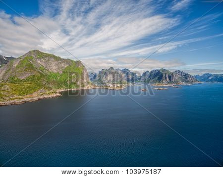 Scenic Aerial View Of Lofoten Islands