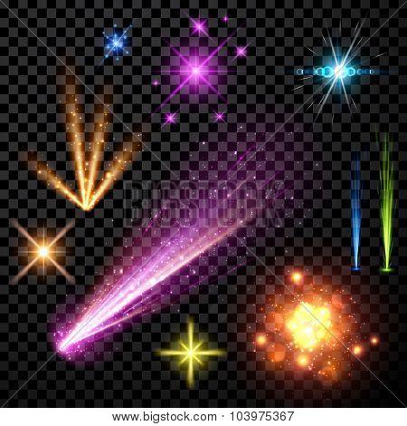 Festive color firework set isolated on black background. Vector illustration.