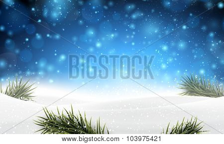 Winter abstract blue background with spruce twigs and place for text. Christmas vector wallpaper. Eps10.