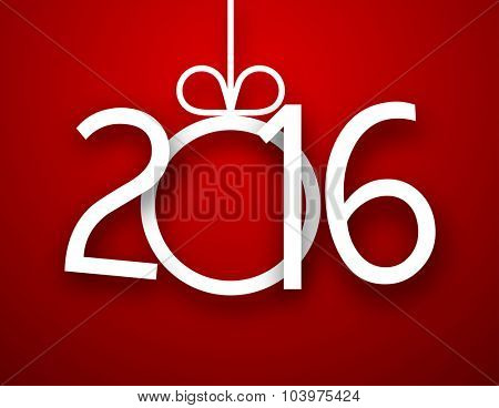 Single paper christmas ball with 2016 new year. Vector red background.