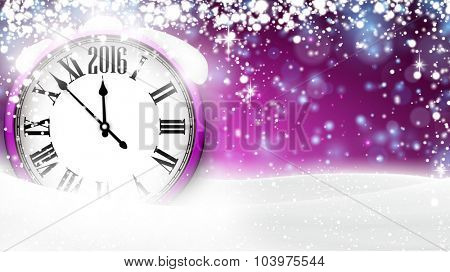 Winter background with snow and place for text. Christmas purple defocused illustration. Eps10 vector.