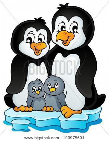 Penguin family theme image 1 - eps10 vector illustration.