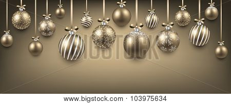 Abstract elegant background with golden christmas balls and place for text. Vector illustration.
