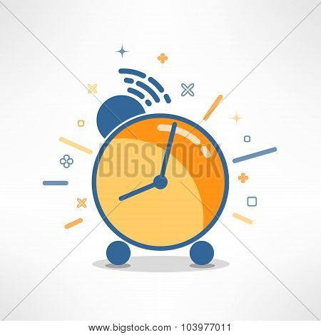 Vector alarm clock in modern flat design. Colorful timer icon in cartoon style