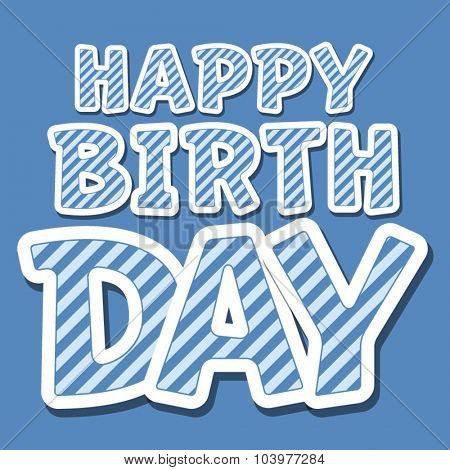 Happy birthday vector card with blue stripes