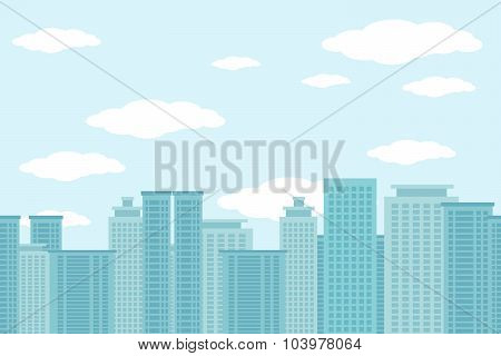 City of skyscrapers horizontal seamless pattern