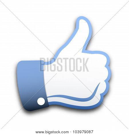 Thumbs Up On White Background, Vector Illustration