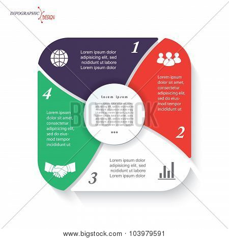 Infographic Template For Business Project Or Presentation With 4 Segments Can Be Used For Web Design